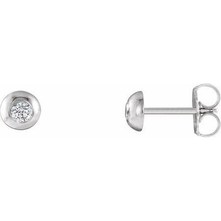 Created Moissanite Earrings in 14 Karat White Gold 2.5 mm Round Forever One Moissanite Domed Earrings
