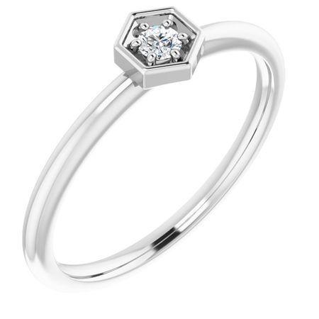 Created Moissanite Ring in 14 Karat  Gold 2.5 mm Round Forever One Moissanite Ring