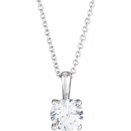 White Diamond Necklace in 14 Karat White Gold 3/4 Carat Diamond 16-18