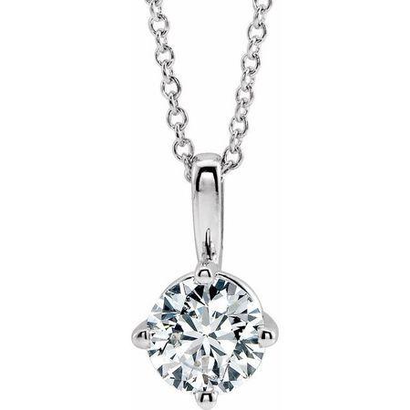 White Diamond Necklace in 14 Karat White Gold 3/4 Carat Diamond Solitaire 16-18