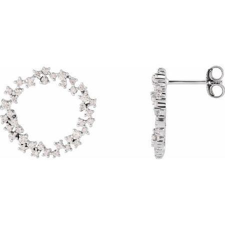 White Diamond Earrings in 14 Karat White Gold 3/4 Carat Diamond Circle Earrings