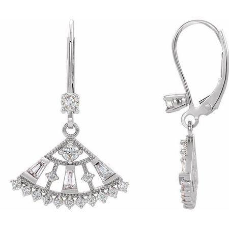White Diamond Earrings in 14 Karat White Gold 3/4 Carat Diamond Lever Back Fan Earrings