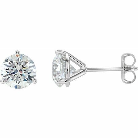 White Diamond Earrings in 14 Karat White Gold 3/4 Carat Diamond Stud Earrings