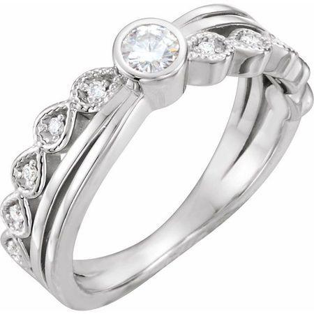 Created Moissanite Ring in 14 Karat  Gold 3.5 mm Round Forever One Moissanite & .05 Carat Diamond Ring