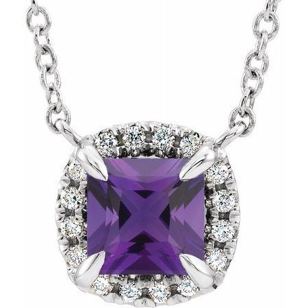 Genuine Amethyst Necklace in 14 Karat White Gold 3.5x3.5 mm Square Amethyst & .05 Carat Diamond 16
