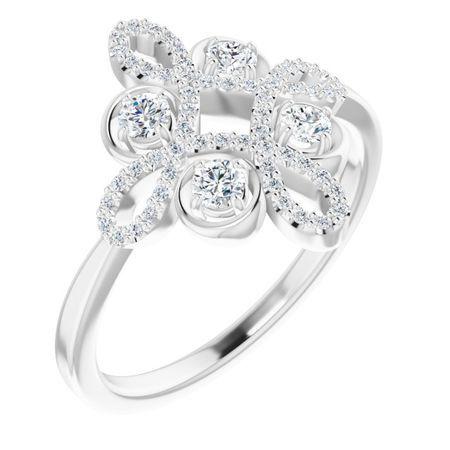 14 Karat White Gold .375 Carat Weight Diamond Clover Ring