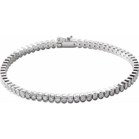 White Diamond Bracelet in 14 Karat White Gold 3 Carat Diamond Line 7