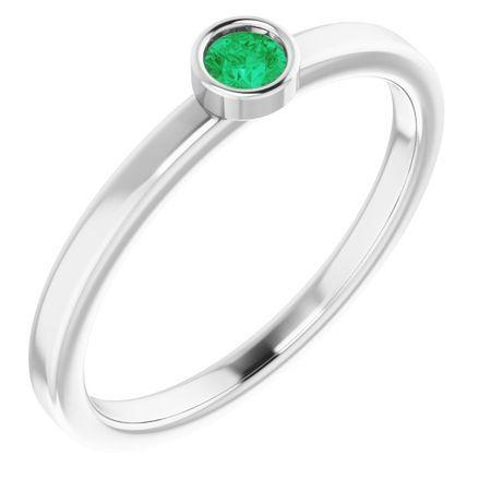 Genuine Emerald Ring in 14 Karat White Gold 3 mm Round Emerald Ring