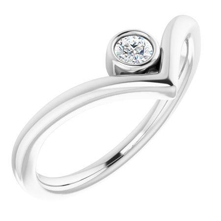 Created Moissanite Ring in 14 Karat White Gold 3 mm Round Forever One Moissanite Ring