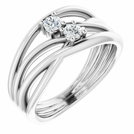 Created Moissanite Ring in 14 Karat White Gold 3 mm Round Forever One Moissanite Ring