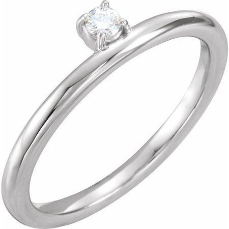 Created Moissanite Ring in 14 Karat  Gold 3 mm Round Forever One Moissanite Ring