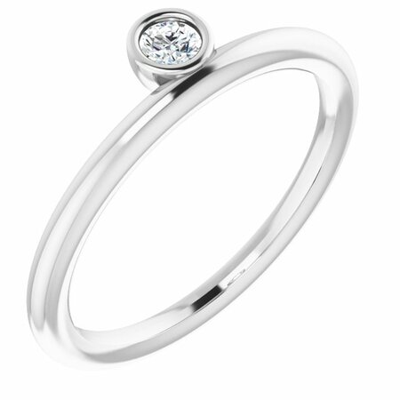 Created Moissanite Ring in 14 Karat  Gold 3 mm Round Forever One Moissanite Ring