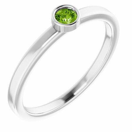 Genuine Peridot Ring in 14 Karat White Gold 3 mm Round Peridot Ring