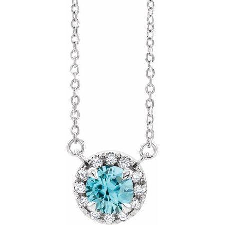 Genuine Zircon Necklace in 14 Karat White Gold 4.5 mm Round Genuine Zircon & .06 Carat Diamond 18