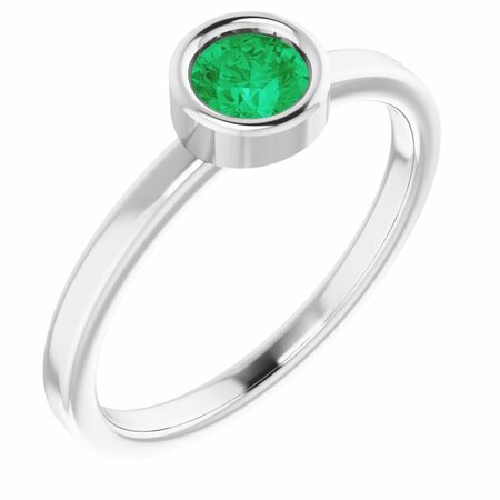 Genuine Emerald Ring in 14 Karat White Gold 4.5 mm Round Emerald Ring