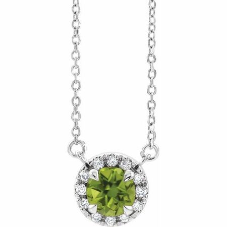 Genuine Peridot Necklace in 14 Karat White Gold 4.5 mm Round Peridot & .06 Carat Diamond 18
