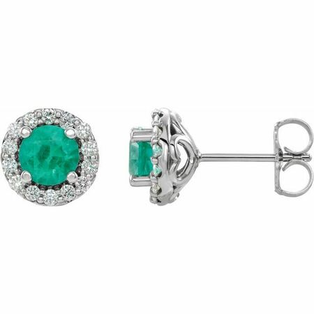 14 Karat White Gold 4 mm Round Emerald & .125 Diamond Earrings