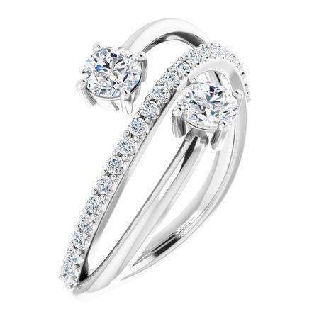 Created Moissanite Ring in 14 Karat  Gold 4 mm Round Forever One Moissanite & 1/5 Carat Diamond Ring