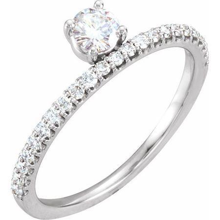 Created Moissanite Ring in 14 Karat  Gold 4 mm Round Forever One Moissanite & 1/5 Carat Diamond Stackable Ring