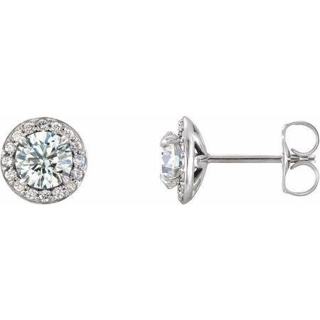 Created Moissanite Earrings in 14 Karat White Gold 4 mm Round Forever One Moissanite & 1/8 Carat Diamond Earrings