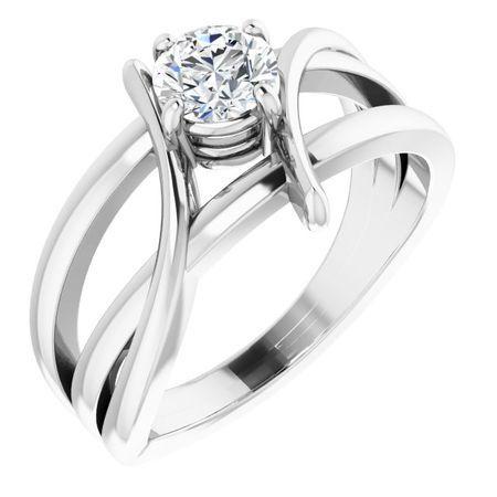 Created Moissanite Ring in 14 Karat White Gold 4 mm Round Forever One Moissanite Ring