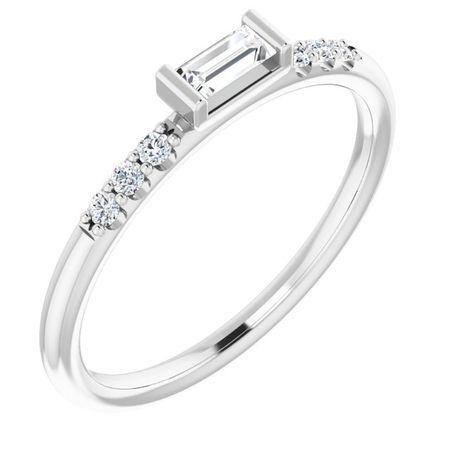 Created Moissanite Ring in 14 Karat  Gold 4x2 mm Straight Baguette Forever One Moissanite & 1/10 Carat Diamond Ring
