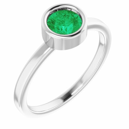 Genuine Emerald Ring in 14 Karat White Gold 5.5 mm Round Emerald Ring
