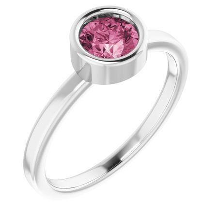Pink Tourmaline Ring in 14 Karat White Gold 5.5 mm Round Pink Tourmaline Ring