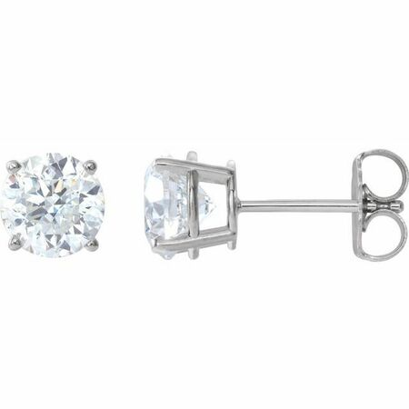 Moissanite Earrings in 14 Karat  Gold 5.5 mm Round Stuller Created Moissanite Earrings