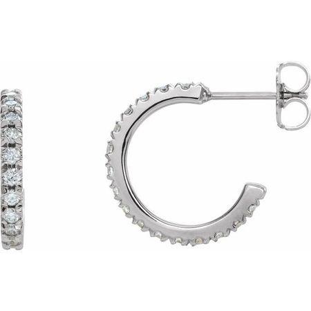White Diamond Earrings in 14 Karat White Gold 5/8 Carat Diamond French-Set J-Hoop Earrings - SI2-SI3 G-H Canada Mark
