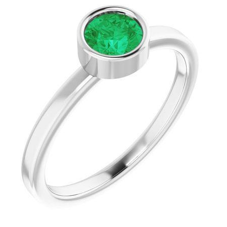 Genuine Emerald Ring in 14 Karat White Gold 5 mm Round Emerald Ring