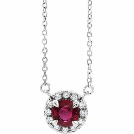 Red Garnet Necklace in 14 Karat White Gold 5 mm Round Mozambique Garnet & 1/8 Carat Diamond 18