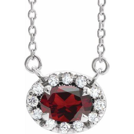 Red Garnet Necklace in 14 Karat White Gold 5x3 mm Oval Mozambique Garnet & .05 Carat Diamond 16