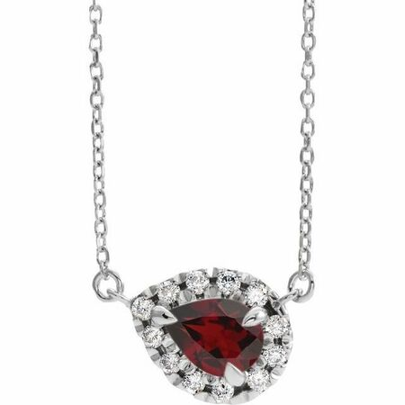Red Garnet Necklace in 14 Karat White Gold 5x3 mm Pear Mozambique Garnet & 1/8 Carat Diamond 18