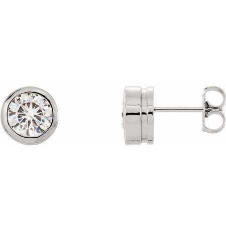 Created Moissanite Earrings in 14 Karat White Gold 6.5 mm Round Forever One Moissanite Earrings