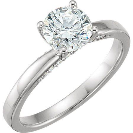 14K White 6.5mm Round Forever Brilliant Moissanite & 1/10 CTW Diamond Engagement Ring
