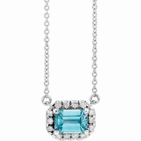 Genuine Zircon Necklace in 14 Karat White Gold 6x4 mm Emerald Genuine Zircon & 1/5 Carat Diamond 16