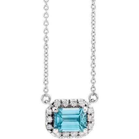 Genuine Zircon Necklace in 14 Karat White Gold 6x4 mm Emerald Genuine Zircon & 1/5 Carat Diamond 18