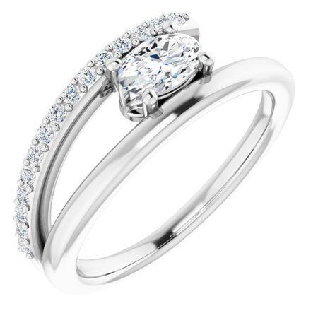 Created Moissanite Ring in 14 Karat  Gold 6x4 mm Oval Forever One Moissanite & 1/8 Carat Diamond Ring