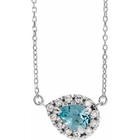 Genuine Zircon Necklace in 14 Karat White Gold 6x4 mm Pear Genuine Zircon & 1/6 Carat Diamond 16