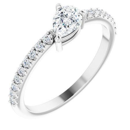 Created Moissanite Ring in 14 Karat  Gold 6x4 mm Pear Forever One Moissanite & 1/6 Carat Diamond Ring