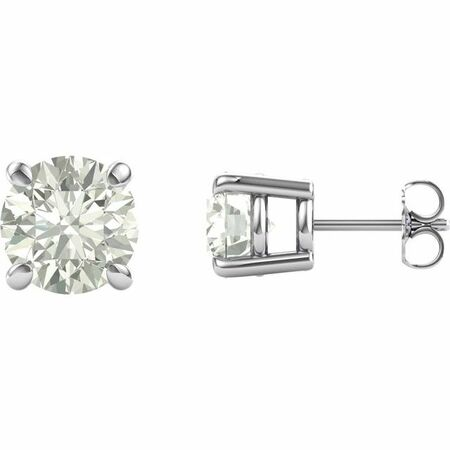 Created Moissanite Earrings in 14 Karat White Gold 7.5 mm Round Forever One Moissanite Earrings