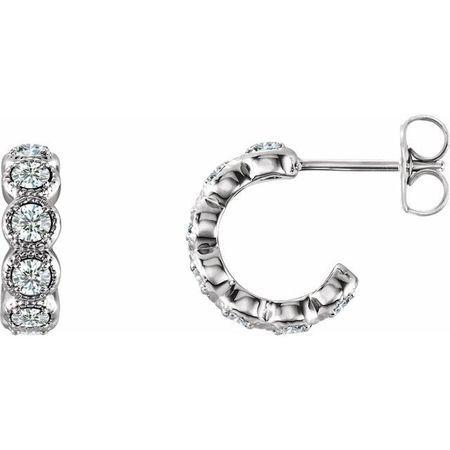 White Diamond Earrings in 14 Karat White Gold 7/8 Carat Diamond Hoop Earrings
