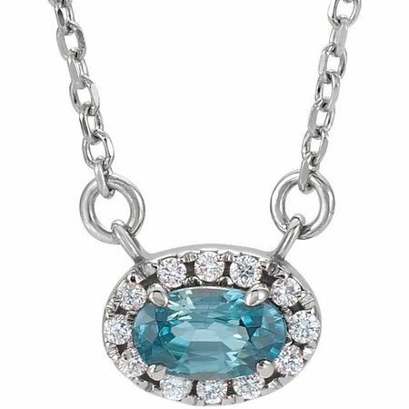 Genuine Zircon Necklace in 14 Karat White Gold 7x5 mm Oval Genuine Zircon & 1/6 Carat Diamond 16
