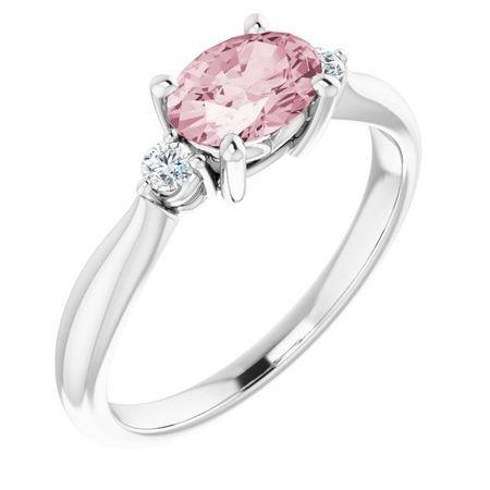 Pink Morganite Ring in 14 Karat White Gold 7x5 mm Oval Morganite & .08 Carat Diamond Ring