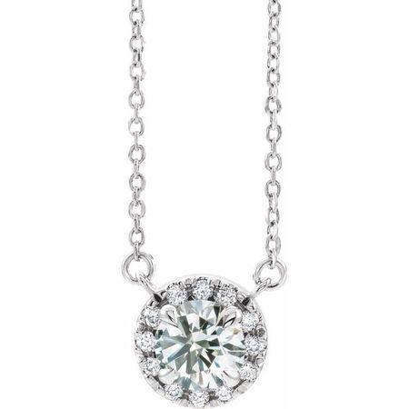 White Diamond Necklace in 14 Karat White Gold 9/10 Carat Diamond 16