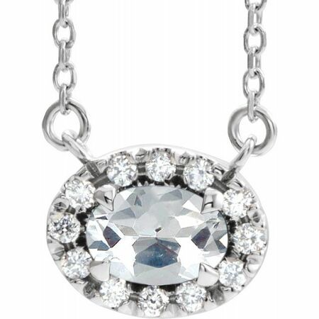White Diamond Necklace in 14 Karat White Gold 9/10 Carat Diamond 18