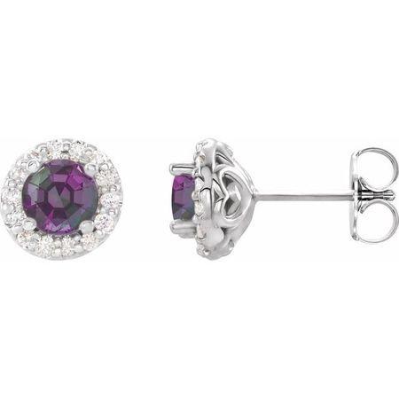 Genuine Alexandrite Earrings in 14 Karat White Gold Alexandrite & 1/6 Carat Diamond Earrings