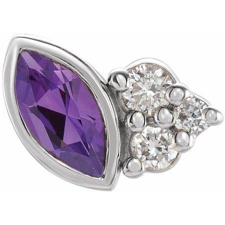 14K White Amethyst & .03 CTW Diamond Left Earring
