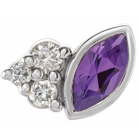 14 Karat White Gold Amethyst & .03 Carat Weight Diamond Right Earring